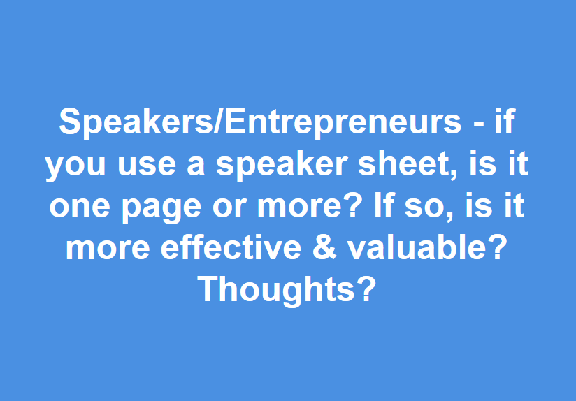 how many pages should a speaker one sheet be